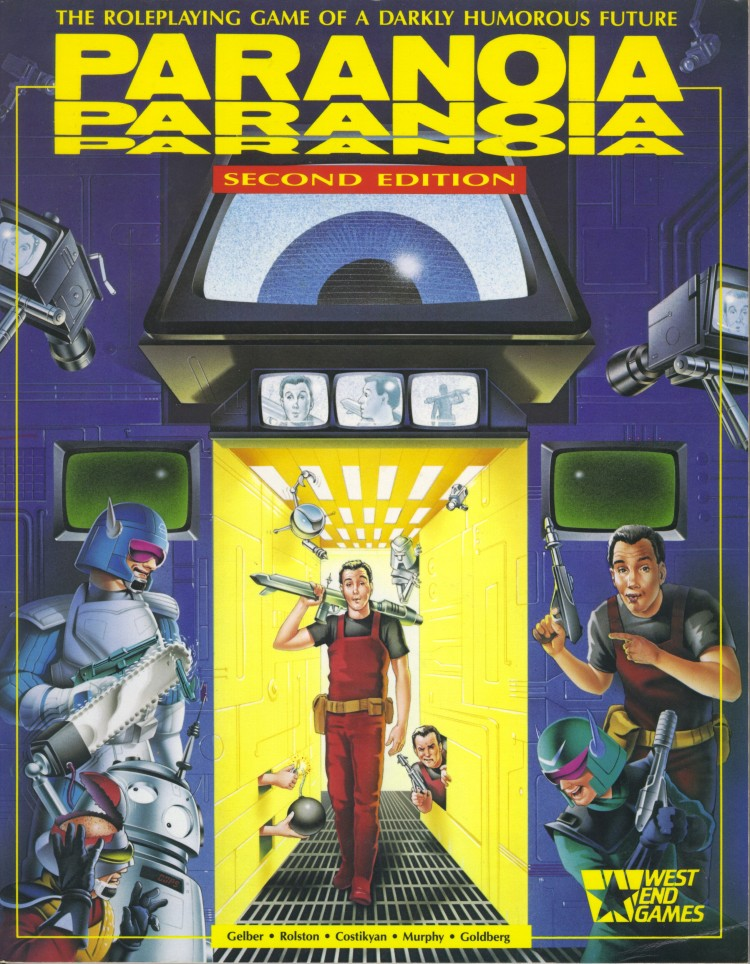 Cover of the role-playing game Paranoia.